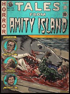 Ec Comics, Horror Comics, Horror Icons, Horror Movie Posters, Shark Drawing, Jaws Movie, Horror Artwork, Back Art, Alternative Movie Posters