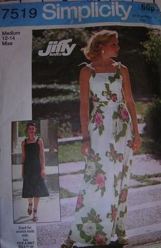 """This is an used cut sewing pattern dated 1976. East to make dress for stretch knit fabrics. Size 12-14 bust 34-36"""". 
