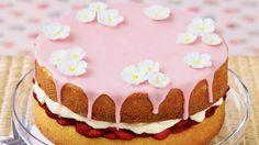 Pretty in pink strawberry cake http://www.homelife.com.au/recipe/strawberry+cake,4893
