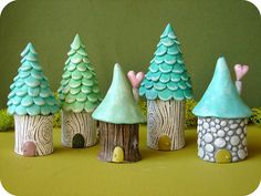 garden gnome village - full of textures and sweet colors.
