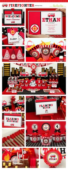 Firefighter Birthday Party Package Personalized Printable Design by leelaaloo.com