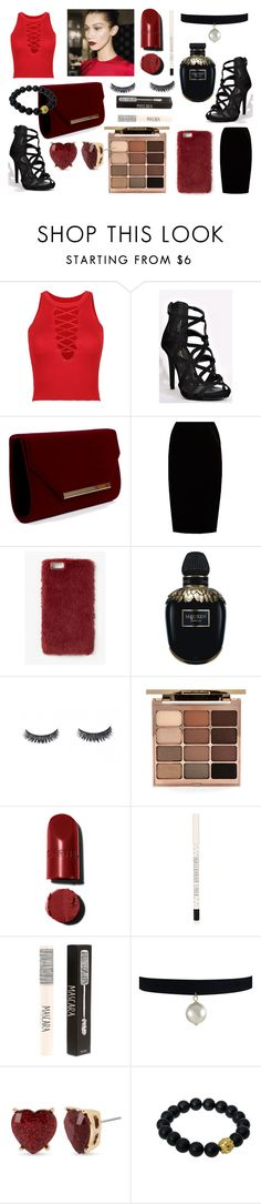 """""""Untitled #346"""" by lilyrose1999 ❤ liked on Polyvore featuring WithChic, Jupe By Jackie, Missguided, Alexander McQueen, Stila, Topshop, Betsey Johnson and Berluti"""