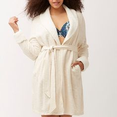 "Lane Bryant Robe Plus Size 22/24 & 26/28 NWT Enjoy all the comfort of your favorite marled knit sweater in a cozy robe. This version is even sweeter with Sherpa-inspired fur trim at the lapels and cuffs. Classic wrap style with interior string tie and self-tie belt. Slash pockets. 22/24 = 3X; 26/28 = 4X  POLYESTER / COTTON LENGTH: 39"" Lane Bryant Intimates & Sleepwear Robes"