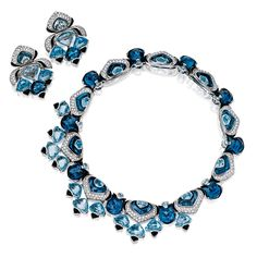 Blue topaz, onyx and diamond 'Fuchxia' demi-parure, Marina B Gems Jewelry, High Jewelry, Jewelry Sets, Jewelry Accessories, Jewelry Design, Bling Bling, Cowgirl Bling, Wedding Jewelry, Jewelry Collection