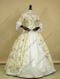 Renaissance Colonial Gothic Masquerade Period Floral Dress Gown Princess Reenactment Clothing Costume