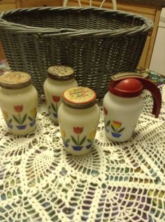 Vintage Spice Shakers and Syrup Jar (Fire King)