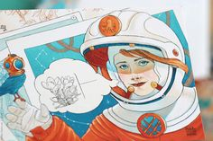 Illustrated cards: steampunk astronaut on Behance