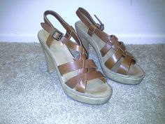 Chloe Made in Italy Sz 42 US Sz 8.5 Leather Platform Heels Rubber Sole Shoes  #Chlo #PlatformsWedges