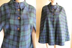 Scotish Tartan Cape in Blue Green Black Wool Plaid with Gold Buttons by Specialty House Fashion on Etsy, $60.00