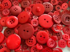Mixed variety of red plastic buttons Star Buttons, Sewing A Button, Hat Making, Vintage Buttons, Different Shapes, Flower Patterns, Red Color, Heart Shapes, Scrapbook