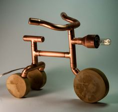 Copper Table Lamp Steampunk Lamp Tricycle exposed bulb table