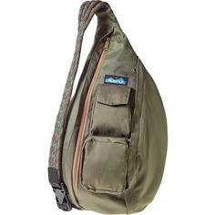 Kavu Rope Sling Bag ($27) ❤ liked on Polyvore featuring bags, kavu, rope bag, rope sling bags, sling bag and travel bag