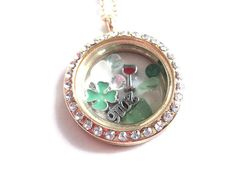 FREE SHIPPING RTS Shamrock locket necklace by RebeccasCharming