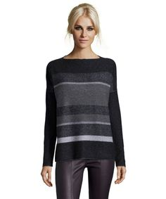 Vince black wool and cashmere knit variegated boatneck sweater