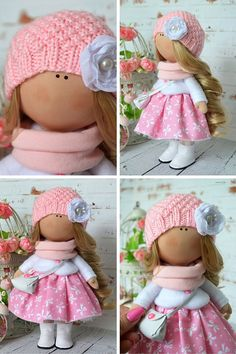 Tilda doll Interior doll Fabric doll Art doll handmade doll pink color doll…