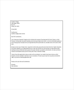 Letter to college for admission