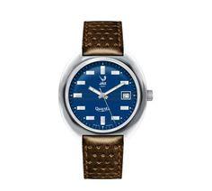 Montre vintage homme - JAZISTOR - réédition catalogue 1970-71 - JZ 111-1 - bracelet imprimé cuir marron, cadran bleu et boitier en métal couleur acier - Boutique Officielle JAZ - un savoir-faire horloger made in France depuis 1919.