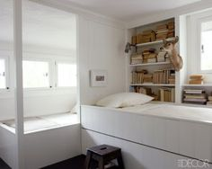 Separated Bunks In a guest bedroom of a Pennsylvania home, built-in beds and tongue-and-groove paneling are painted in Darryl Carter's Ba. Bunk Beds Built In, Cool Bunk Beds, Kid Beds, Separating Rooms, Bunk Rooms, Loft Spaces, White Rooms, Guest Bedrooms, Guest Room