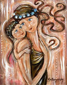 """original 8x10"""" painting on canvas of mother and child - Adoration by kmberggren on Etsy"""