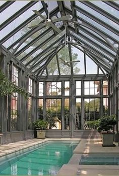 Steel and Glass Pool Pavilion by Tanglewood Conservatories - Indoor Swimming Pool - Swimming Pool Enclosures, Indoor Swimming Pools, Swimming Pool Designs, Indoor Pools In Houses, Swimming Pool Landscaping, Beautiful Pools, Dream Pools, Pool Houses, Houses With Pools