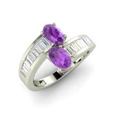 Engagement Rings - Annice - Amethyst Engagement Ring in 14k White Gold with VS Diamond (1.3 ct.tw.)