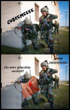 Cúbreme... #soldado #armas #humor #jokes #manta #funny #chiste #guerra