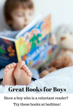 My son is my most reluctant reader, but it is still important to get him reading in order to build vocabulary and comprehension. Here are a few suggestions for books that are engaging for boys. (And girls love them too!)