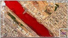 Como você pode conferir na imagem acima, o Google Maps registrou um lago nas redondezas da cidade de Sadr, no Iraque. O problema é que as águas vistas através do mapa estavam completamente vermelhas.  Veja mais imagens interessantes em: http://www.oblogdoseupc.com.br/2013/04/Imagens-bizarras-ou-estranhas-que-voce-pode-ver-no-Google-Maps.html