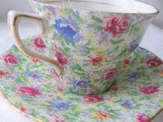 Rosina Chintz Cup and Saucer  / English Bone China / Tea Party / Serving / Teacup and Saucer /  Rosina Cup on Etsy, $47.97 CAD