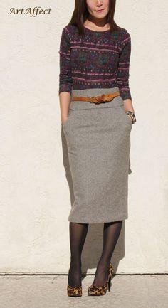 Haute taille crayon jupe marron Tweed laine par artaffect sur Etsy