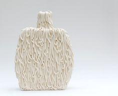 Hairy Ceramic Bottle Vase Cream by LesleyWilsonArt on Etsy, $180.00