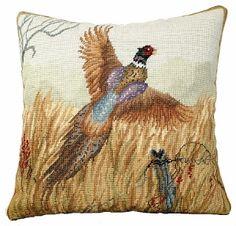Needlepoint Pheasant in Flight Pillow