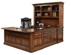 Amish Jefferson U-Shaped Desk with Optional Hutch Top Solid wood construction defines this U shaped desk that provides lots of room to work, lots of storage and a professional, sophisticated look. Custom built in choice of wood, stain and features. #executivedesk #ushapeddesk