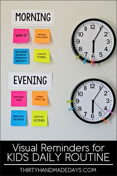 Make your own visual reminders for Kids Daily Routines - perfect for back to school! With Post-It Notes. www.thirtyhandmadedays.com @postitproducts