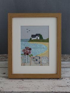 A Quiet Cornish Cove Pattern Machine Embroidery Projects, Machine Applique, Free Machine Embroidery, Embroidery Ideas, Fabric Cards, Fabric Postcards, Sewing Appliques, Applique Patterns, Applique Ideas