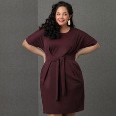 Tanesha Awasthi models the Simply Emma collection at Sears - Budgundy Dolman Dress