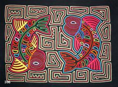 #106 - Mola - Swirling Fish - Reverse Mirror image of fish with linear work very even and carefully sewn - FINE - $80.00