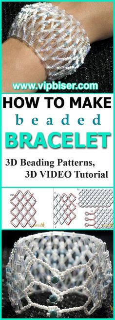 Simple and Delicate Beaded Bracelet with Bugle Beads. 3D Beading Tutorial. Beaded Jewelry, Pattern, Wedding style, for Bride, Cuff