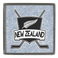 New Zealand Ice Hockey Logo Lapel Pin.  Custom made stylish lapel pin, available in gunmetal, silver plated and gold plated finishes. The design is covered with a high shine resin dome. #HockeyPins