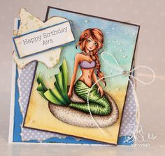 Spectrum Noir, Copics, Digital Stamps, Party Themes, Birthday Cards, Mermaid, Sweet, Colouring, Color