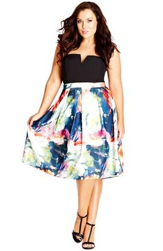 City Chic 'Full Bloom' Pleat Scuba Knit Skirt (Plus Size) available at #Nordstrom