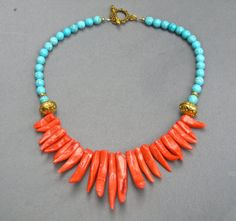 Coral Statement Necklace Red Coral Branches Blue by PrairieIce
