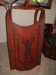 Antique Sled. Large, orig red paint w/horse, auction purchase, private collection.  Fine example of authentic primitive American folk art.
