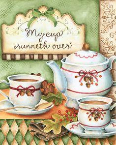 Autumn Tea Art Print by karladornacher on Etsy Vintage Diy, Tee Kunst, Autumn Tea, Tea Quotes, Pintura Country, Cuppa Tea, Psalm 23, My Cup Of Tea, Tea Set
