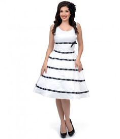 Get wrapped in ribbons with the Unique Vintage White  Ribbon Tea Length Dress #pinup #uniquevintage
