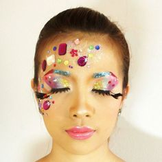 """My """"Jewel Concept"""" , I choose the color tone in colorful with colorful gem and model's eyebrows I use glitter put on it again. ^^*"""