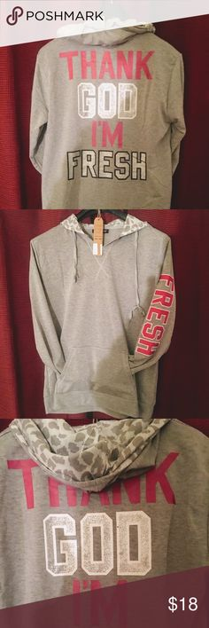 💕cute fashion grey hoodie with design on back 💕 🌹this grey hoodie that has a animal print light inside hood 🌹front pockets 🌹fresh down arm 🌹on the back logo. Saying thank god I fresh 🌹🌹🌹very soft and comfortable 🌹🌹🌹the size is only fits large to xlarge 🌹has good stretch 🌹great fashion at affordable prices 🌹please feel free to ask question 🌹 presige Tops Sweatshirts & Hoodies