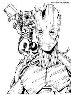 Enjoy coloring this free printable Groot and Rocket Raccoon coloring page from the Marvel movie Guardians of the Galaxy. Just print out and have fun with this coloring sheet for kids!