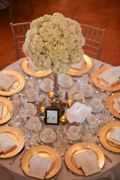 #gold #centerpiece #candles #chargers #hydrangeas