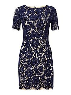 Short sleeved lace overlay bodycon dress